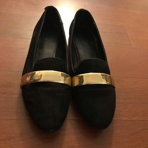 Zara Black Gold Suede Flat